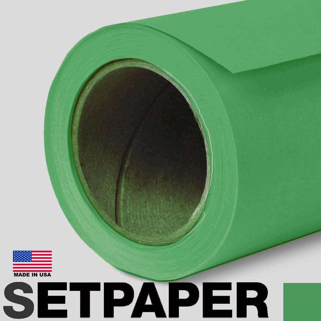 """EXTRA LONG SETPAPER - BRIGHT GREEN (CHROMA GREEN) 107"""" x 36' (2.7 x 11m)"""
