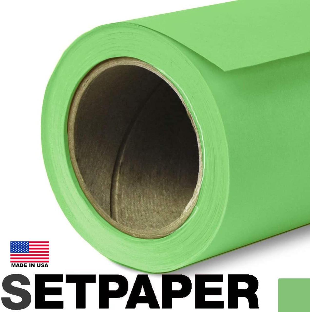 "EXTRA LONG SETPAPER - APPLE GREEN 107"" x 36' (2.7 x 11m)"