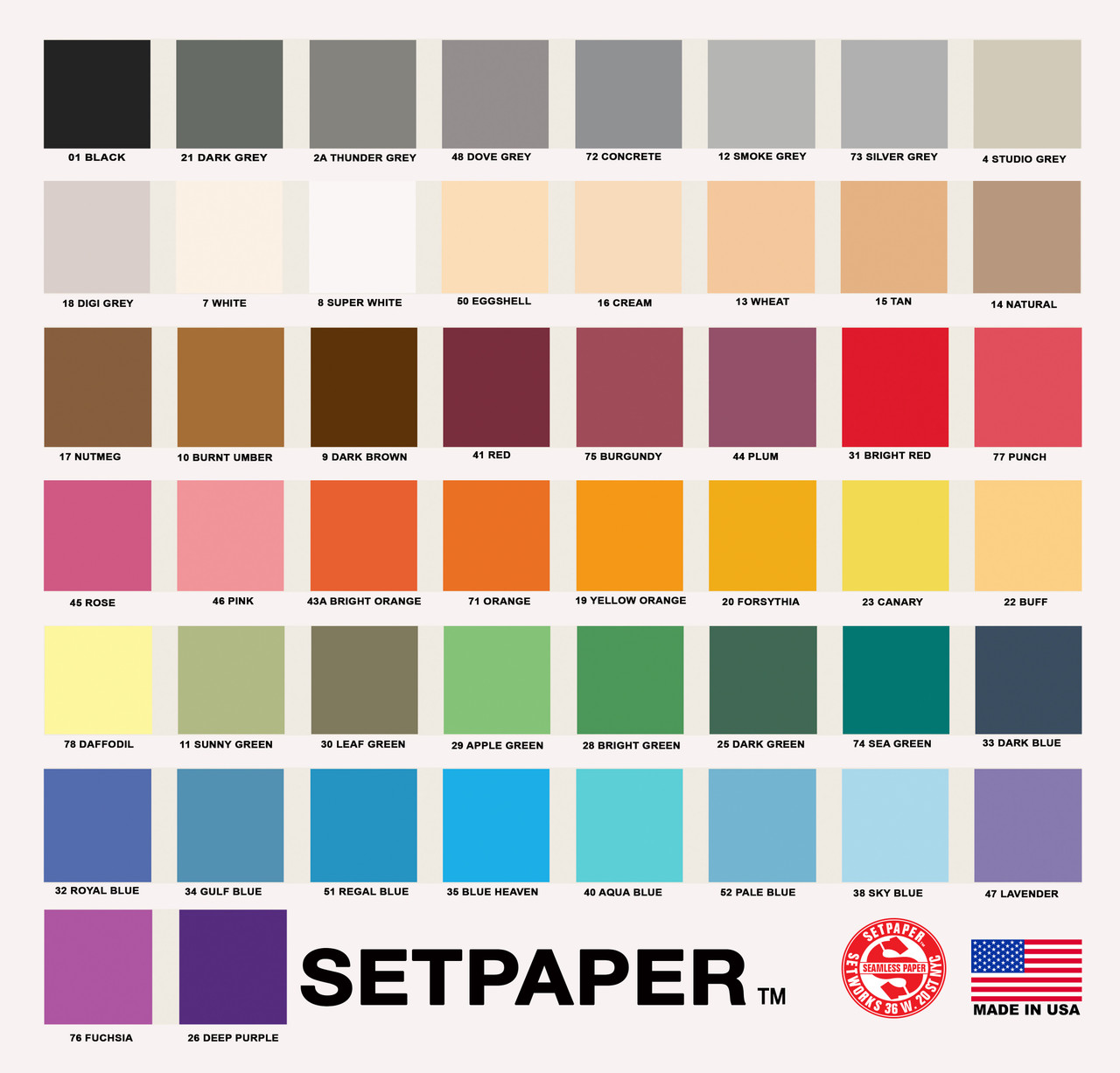 SETPAPER COLOR CHART (E-MAIL COLOR CHART)