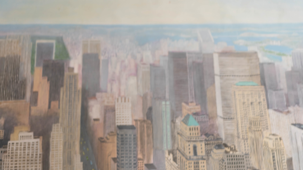 Hand Painted Canvas Backdrop - City Scape - 5' x 8'  .