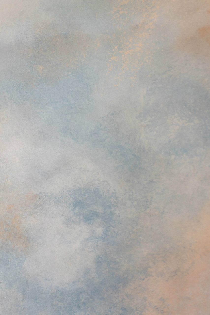 Hand Painted Canvas Backdrop  - Textured Blue/Grey/Orange - 4' x 8'   .