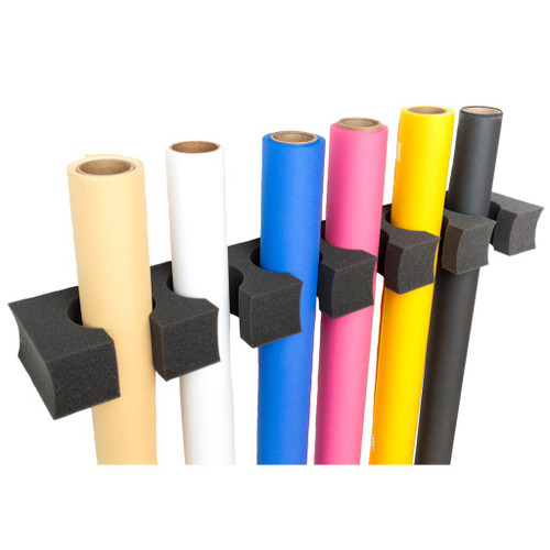 Paper Grip is a functional solution to help with the storage of seamless paper. Constructed of flexible polyurethane foam for easy insertion of seamless rolls, it takes only minutes to install and provides proper storage for twelve rolls of paper.
