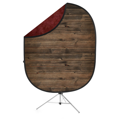 Collapsible Background  Rustic Planks / Mottled Red 5'x7'