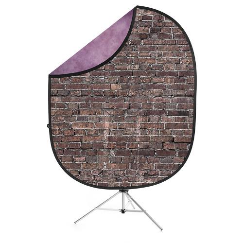 Collapsible Background  Grunge Brick / Purple 5'x7'