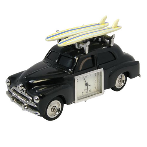Retro Surf Car with Boards Clock Black