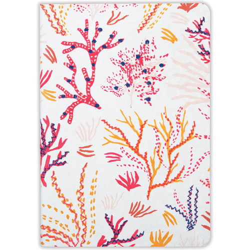 Handmade Journal LG Embd Embroidered Coral   | Organiser World