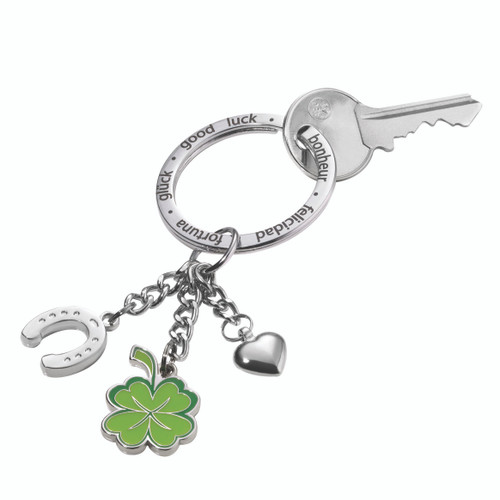 Keyring 3 Charms: Horseshoe, Clover & Heart