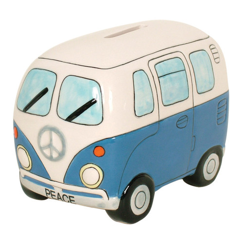 Peace Campervan Money Box - Blue
