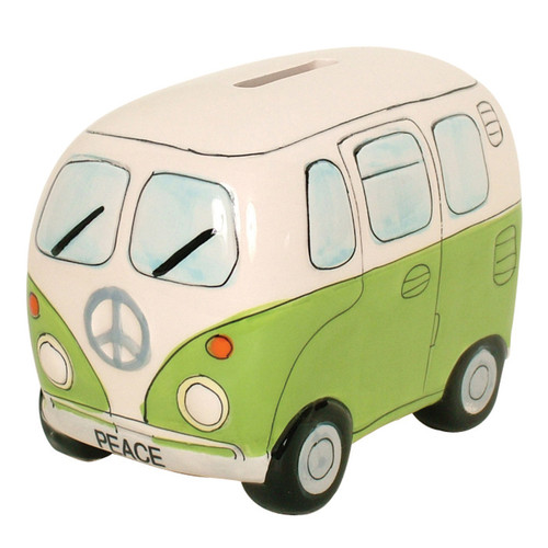 Peace Campervan Money Box - Green