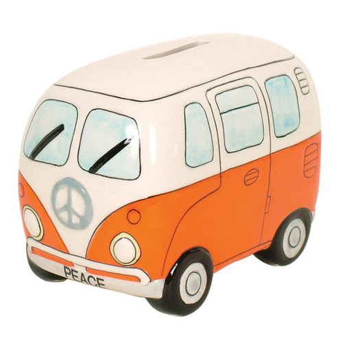 Peace Campervan Money Box - Orange