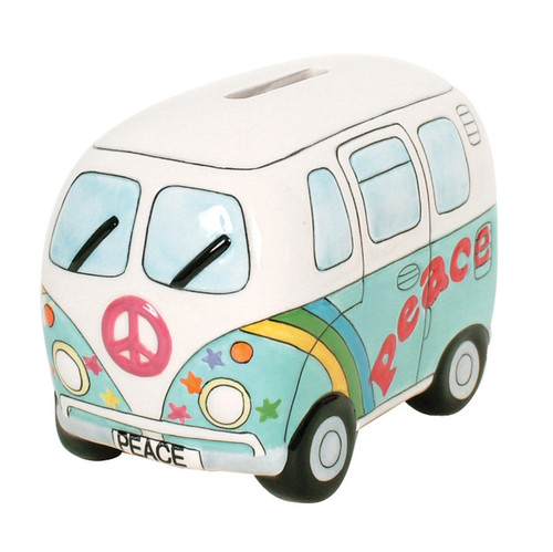 Peace Campervan Money Box - Psychedelic Blue