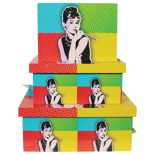 Pop Art Boxes 3pc Set - Audrey Hepburn
