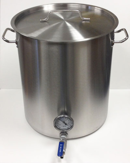 15 Gallon Mash Tun Stainless Steel False Bottom and Weldless Stainless Steel Ball Valve & Thermometer | BREW International
