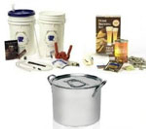 Basic Homebrew Starter Beer Kit with Ingredients and Kettle | BREW International