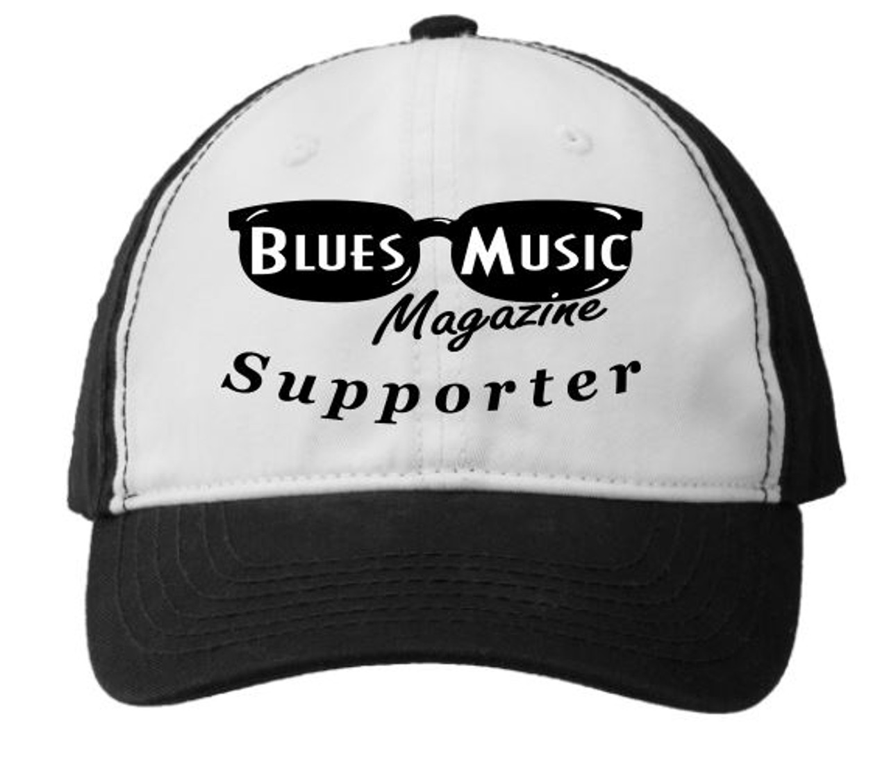 BLUES MUSIC MAGAZINE SUPPORTER BLACK & WHITE EMBROIDERED HAT