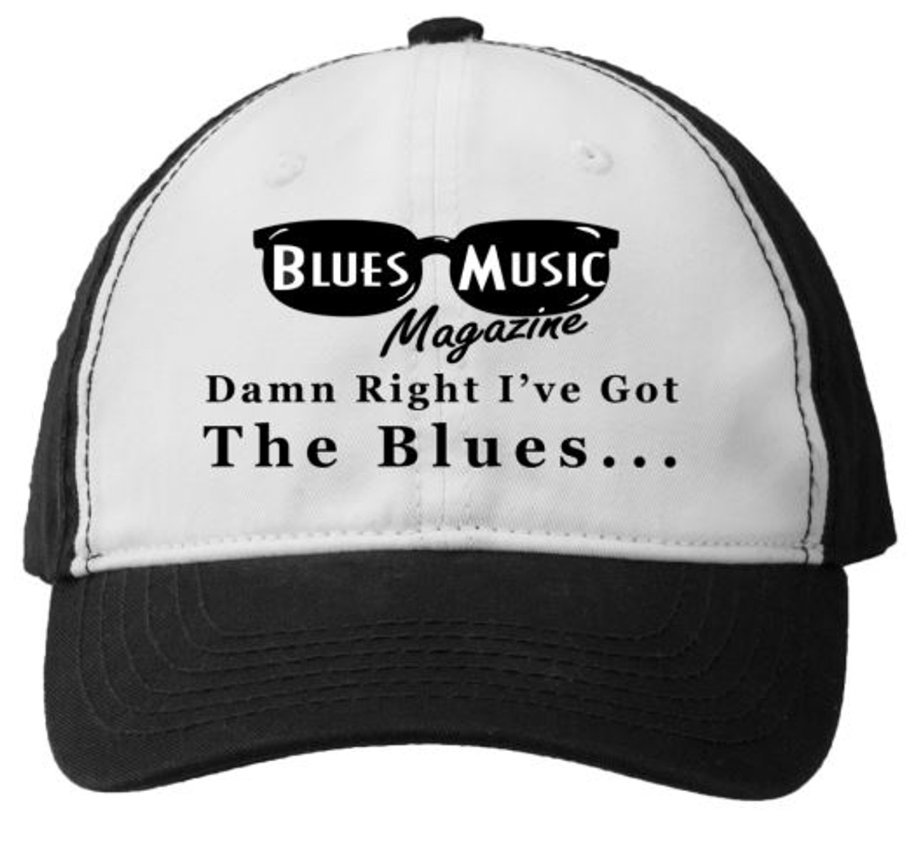BLUES MUSIC MAGAZINE DAMN RIGHT BLACK & WHITE EMBROIDERED HAT