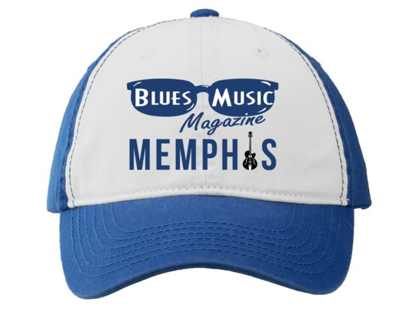 BLUES MUSIC MAGAZINE MEMPHIS ROYAL BLUE & WHITE EMBROIDERED HAT