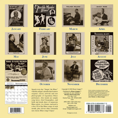 Classic Blues Artwork 1920's Calendar and 23 Song CD