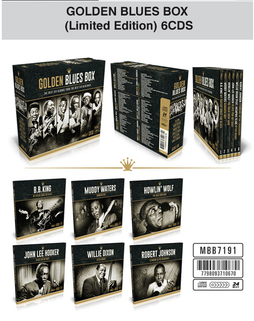 The Blues is the foundation of most the popular music we know today. His sound and cultural heritage is so rich that from it, have born styles as varied as rock n'roll, soul, disco, funk and heavy metal. Such sonic legacy finds its Bible on our Golden Blues Box, the definitive collection that brings together some the genre's greatest work and the timeless songs of the six biggest creators of the genre: BB King and his swinging guitar, Muddy Waters and his personal sound, the uneven and wonderful playing of John Lee Hooker, the threatening voice of Howlin' Wolf, the vast songwriting talent of Willie Dixon and the pioneering spirit of Robert Johnson, who recorded some of the first recorded blues in history. The Golden Blues Box contains 6 CDs, an individual album for each legendary artist; the Golden Blues Box is a amazing testimony both musically and historically. An opportunity you can't miss to get close to one of the richest legacies of popular music.
