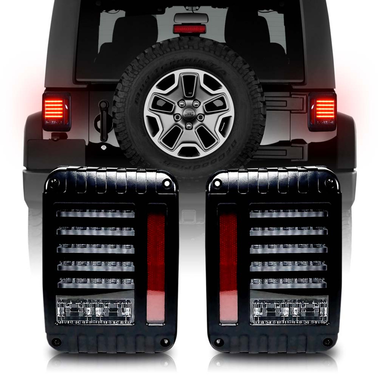 Helios Black Led Tail Lights For Wrangler Jk 2007 2017