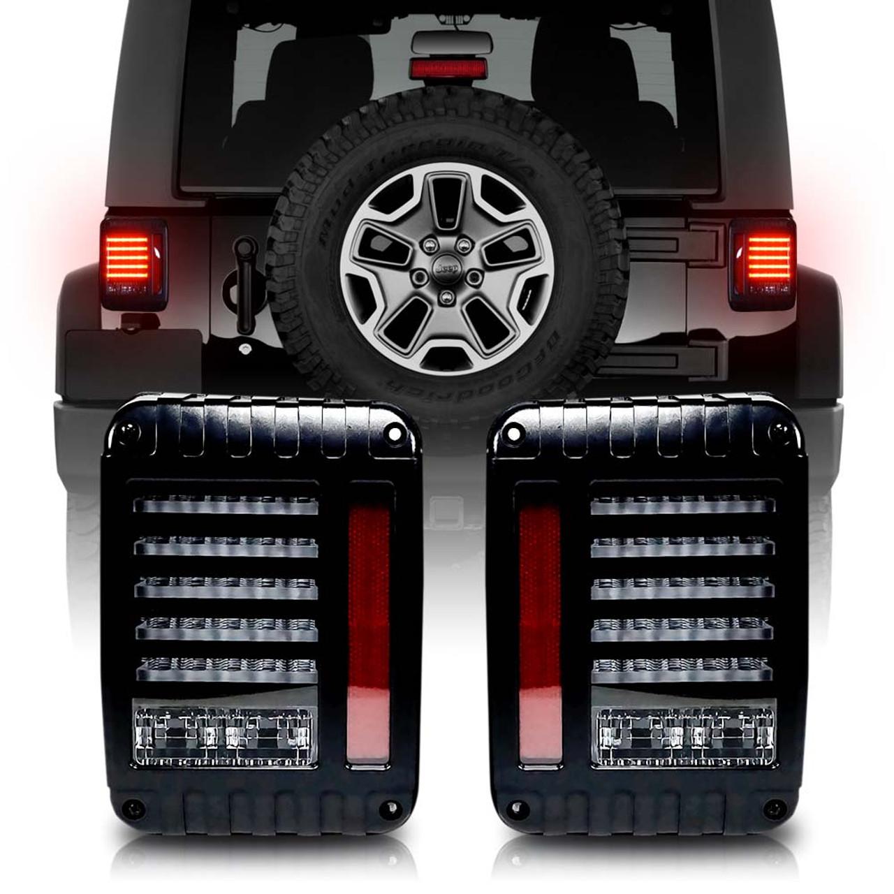 Helios Black Led Tail Lights For Wrangler Jk 2007