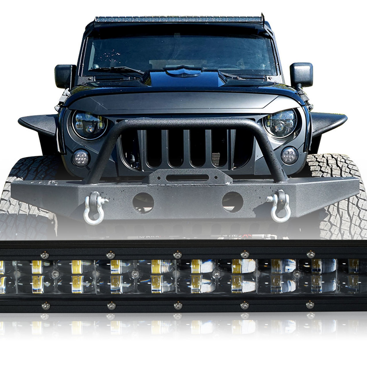 Led Light Bar 288w 50 Inches Bracket Wiring Harness Kit For Wrangler Fog Jk 2007 2017