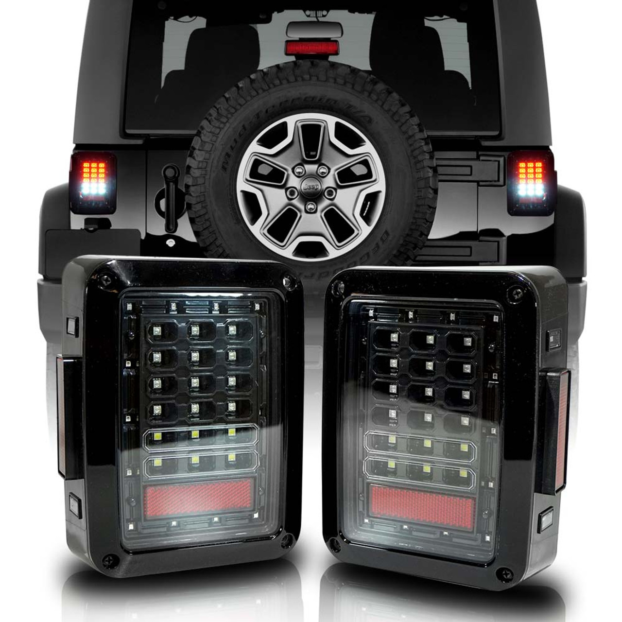 XPE Black LED Tail Lights for Wrangler JK 2007-2018 - JPFEDERATION | White Jeep Sahara Lifted With Tire Carrier And Led Tail Lights |  | Parts Accessories for Jeep Wrangler JL JK TJ Gladiator