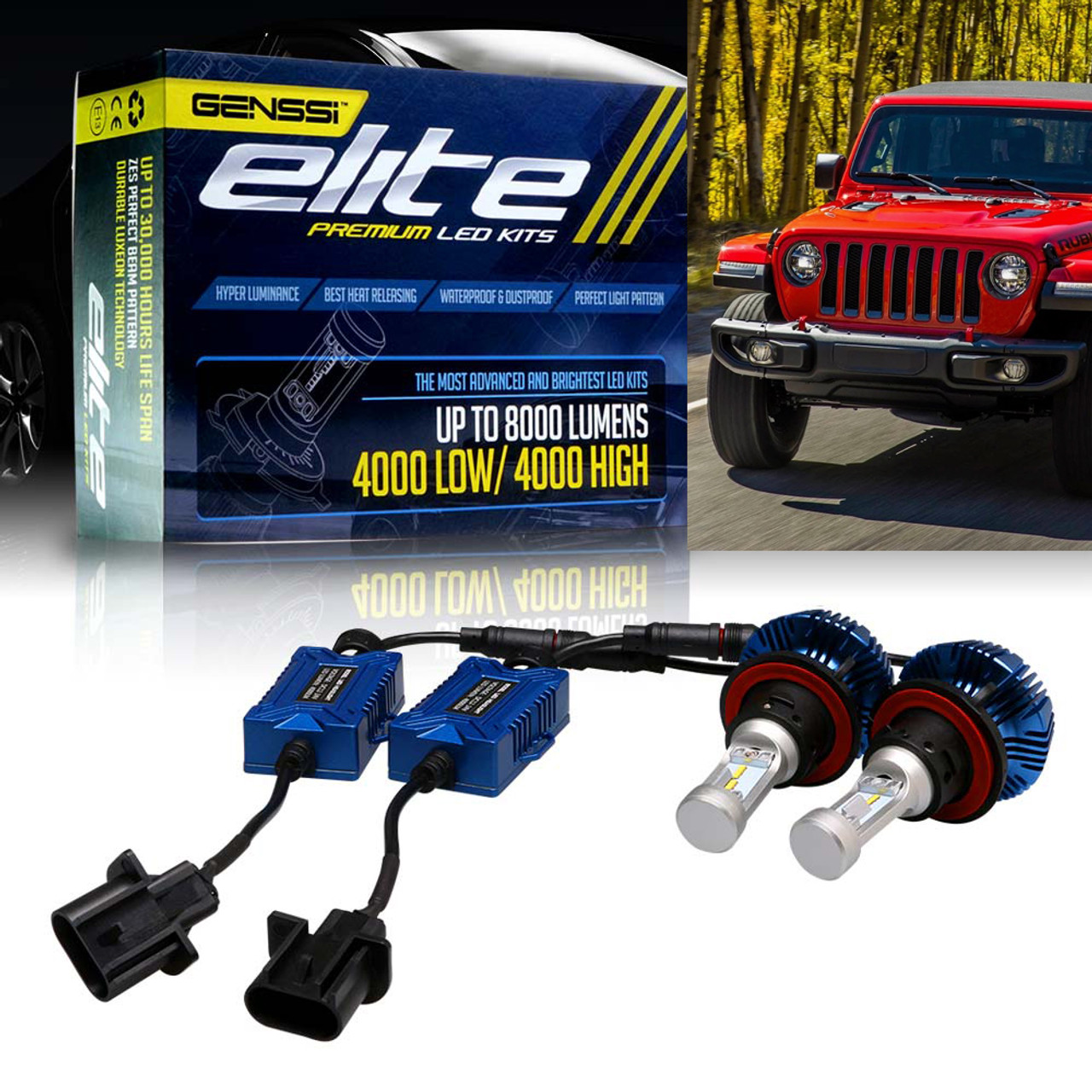 For Jeep Wrangler 2007-2018 H13 LED Headlight Hi//Low Beam Conversion Bulbs Kit