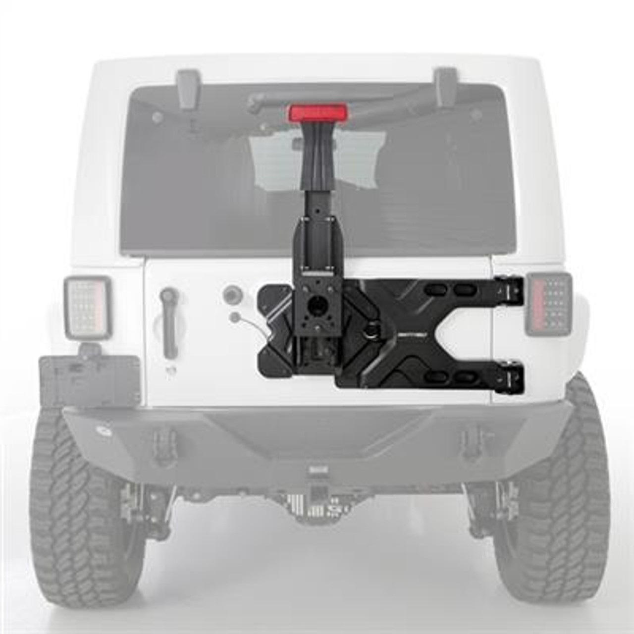 Pivot Heavy-Duty Oversize Tire Carrier for Wrangler JK 2007-2018 -  JPFEDERATION | White Jeep Sahara Lifted With Tire Carrier And Led Tail Lights |  | Parts Accessories for Jeep Wrangler JL JK TJ Gladiator