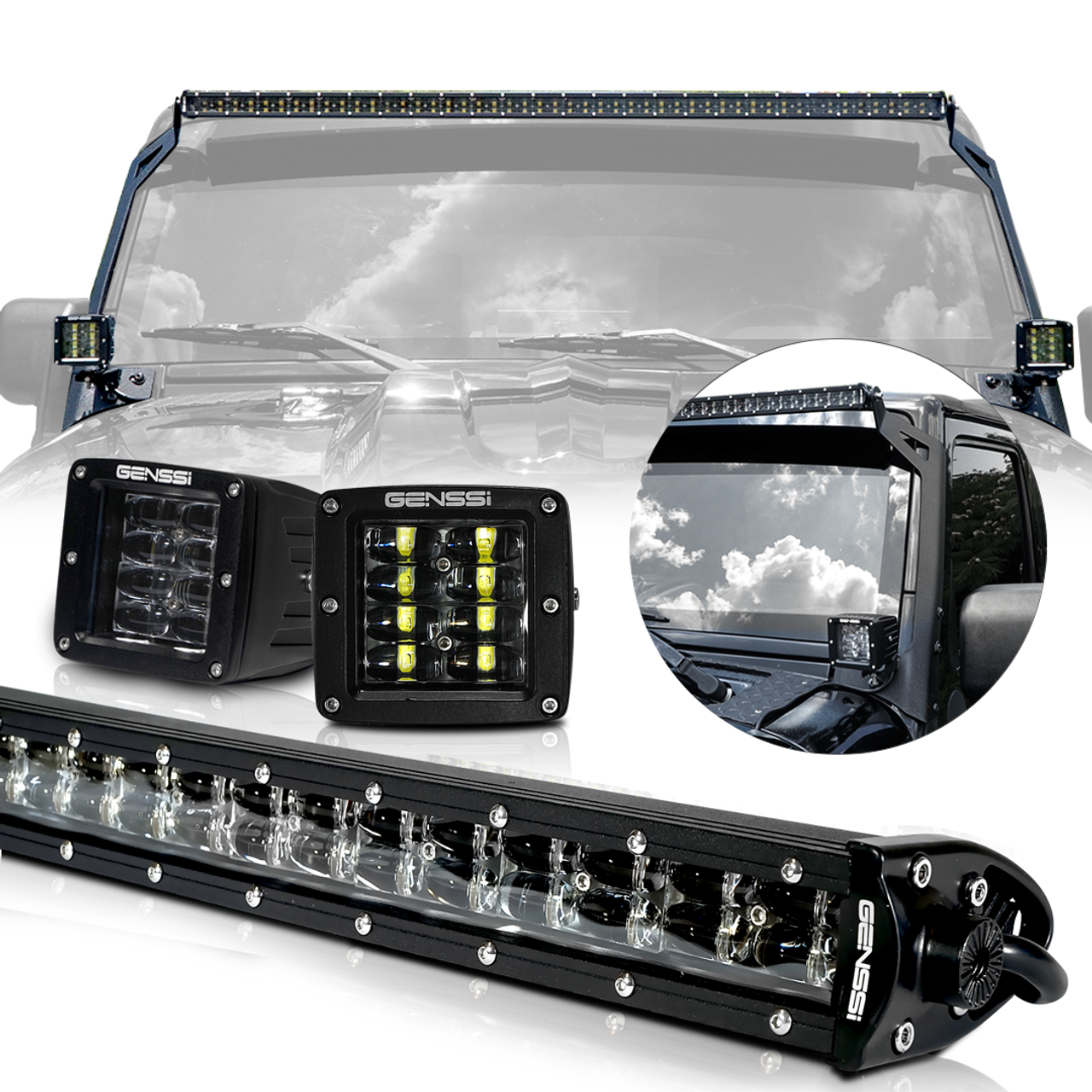 Led Light Bar Combo Kit With Aux Lights Bracket Wiring Harness Jeep Jk Dual Battery For Wrangler