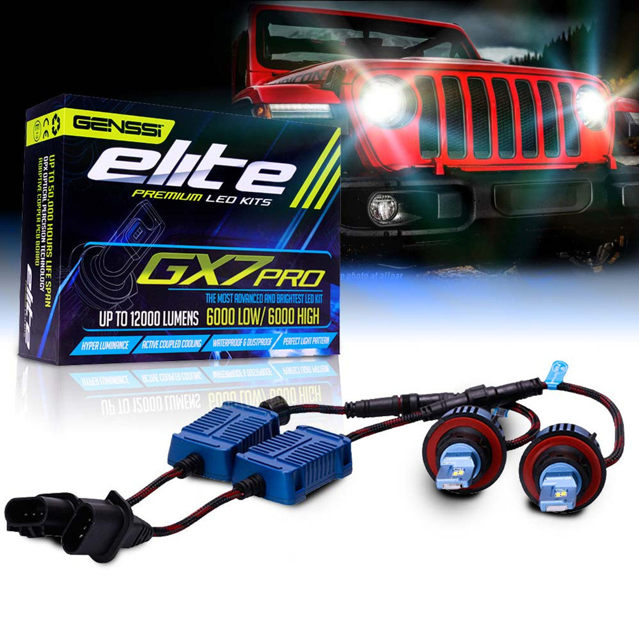Led Headlight Conversion Kit Gx7 Pro For Jeep Wrangler Jl 2018 Up White Sahara Lifted With Tire Carrier And Tail Lights