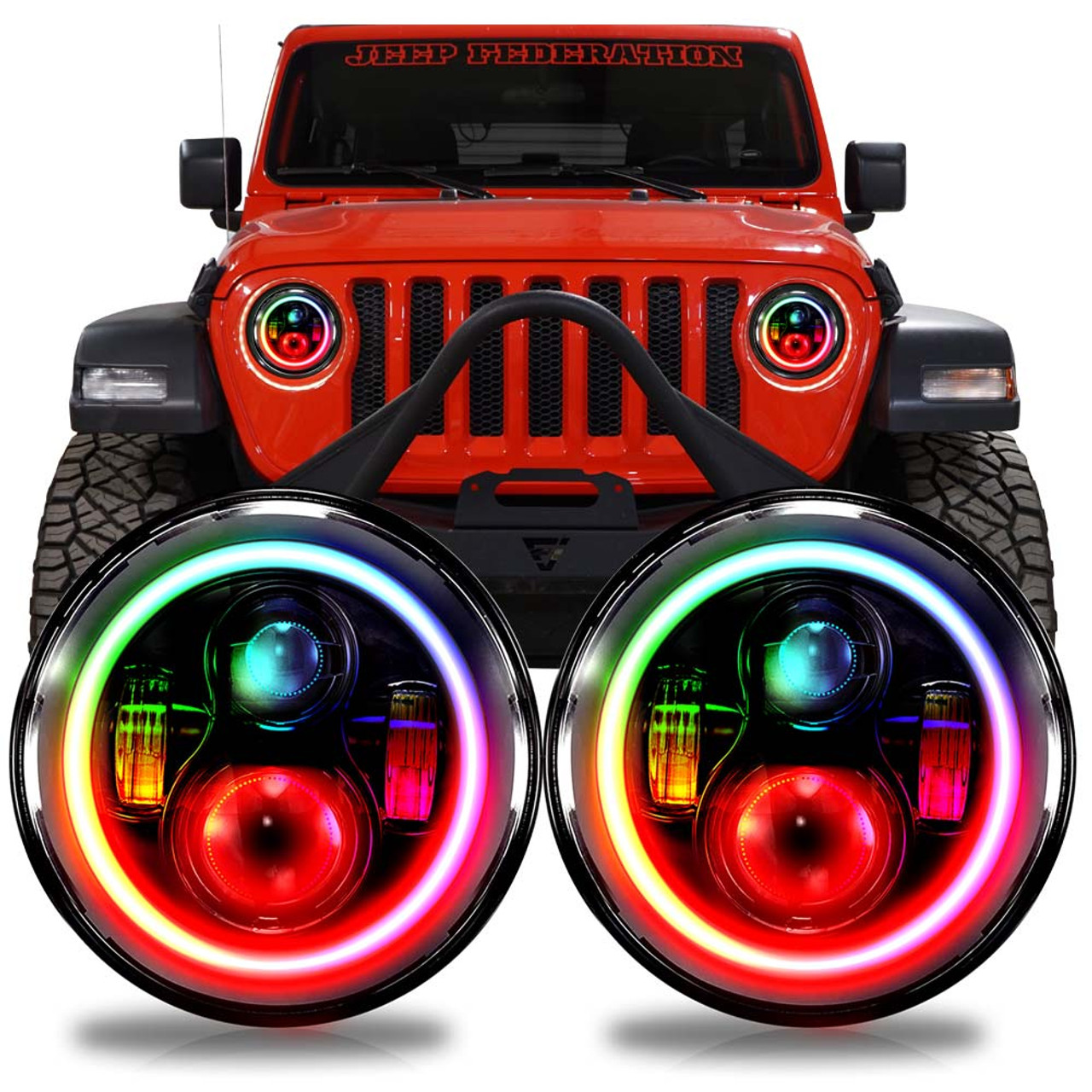 HALO RGB CHASE Projector LED Headlights for Wrangler JL & Gladiator 2018+