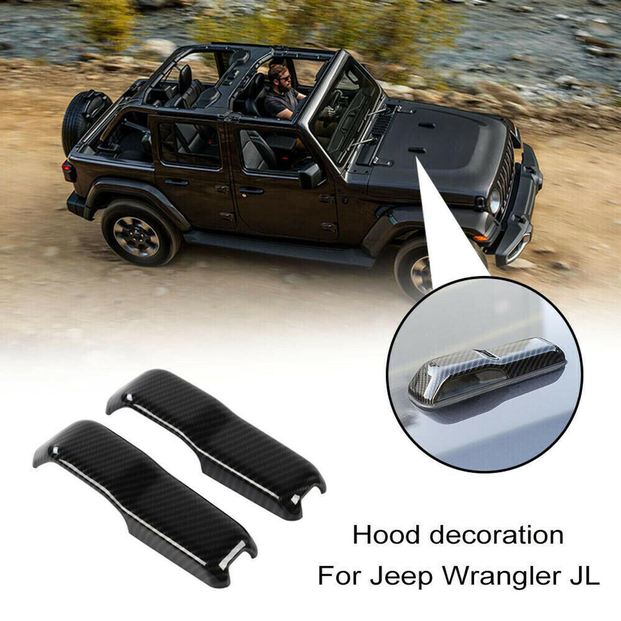 Carbon Fiber ABS Front Engine Hood Air Vent Cover Trim For Wrangler JL 2018-2019