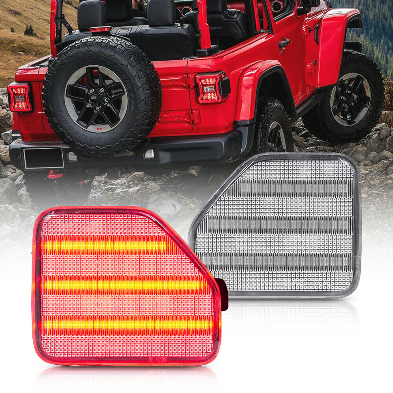 Miniclue Red Lens LED Rear Bumper Reflector Light Kit For 2018-up Jeep Wrangler JL Sahara Rubicon MOAB Trims ONLY