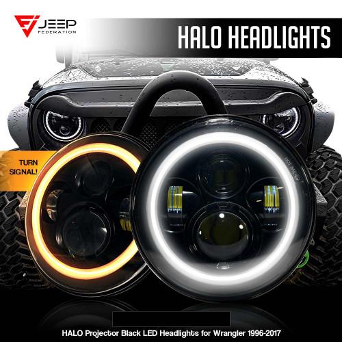 HALO Projector Black LED Headlights for Wrangler 1996-2017