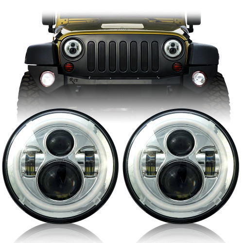Chrome Housing Halo Headlights for Wrangler