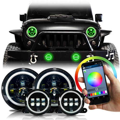 HALO RGB Color Projector LED Headlights & Fog Lights Kit for Wrangler JK 2007-2018