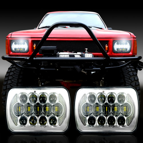 XPE Honeycomb LED Chrome  Projector Headlights w/DRL for XJ and YJ