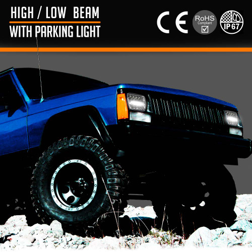 XDR LED Chrome Headlights w/DRL for XJ and YJ
