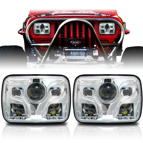APOLLO LED Chrome Projector Headlights for XJ and YJ
