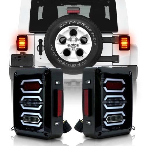 DIAMOND Black LED Tail Lights for Wrangler JK 2007-2018