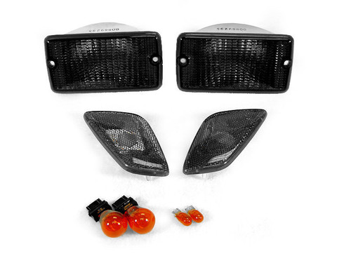Black Smoked Bumper Signal and Side Marker Lights Combo for Wrangler TJ 1997-2006