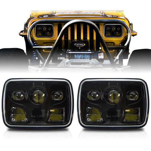 APOLLO LED Black Projector Headlights for XJ and YJ