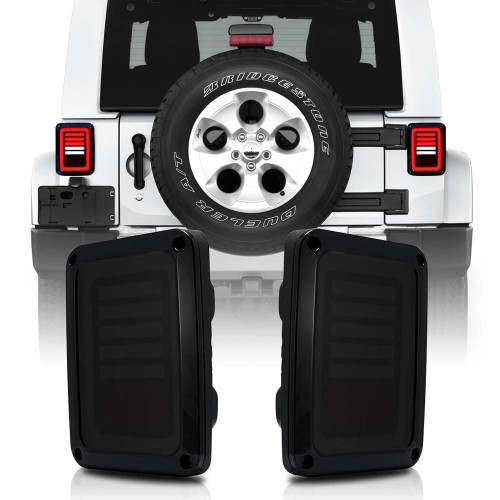 3D Hologram Smoked LED Tail Lights for Wrangler JK 2007-2018