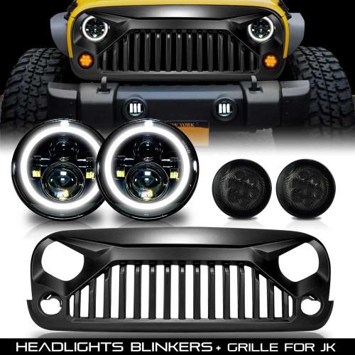 Combo Set Grille + Headlights + Blinkers for Jeep Wrangler JK 2007-2018