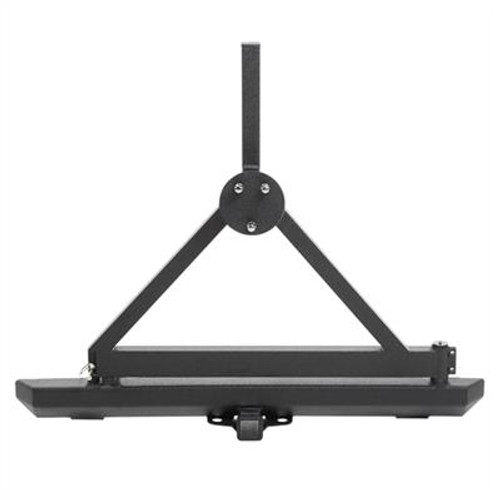Classic Rock Crawler Rear Bumper and Tire Carrier with Receiver Hitch Black for Wrangler YJ & TJ 1987-2006
