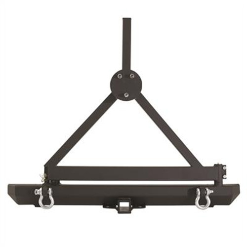 Classic Rock Crawler Rear Bumper and Tire Carrier with Receiver Hitch and D-ring Mounts Black for Wrangler YJ & TJ 1987-2006