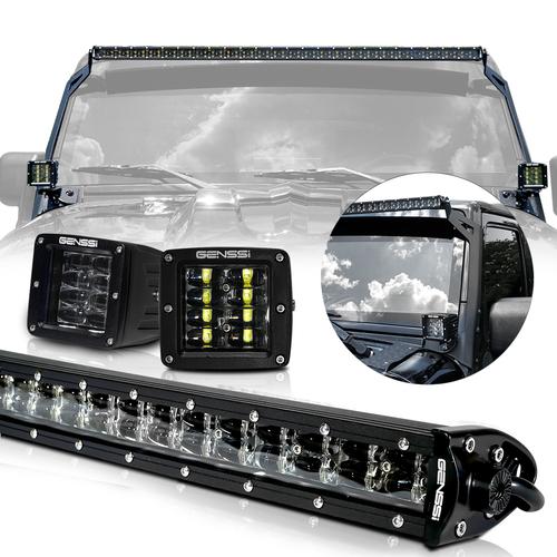 LED Light Bar Combo Kit with AUX Lights & Bracket Wiring Harness Kit for Wrangler JK 2007-2017