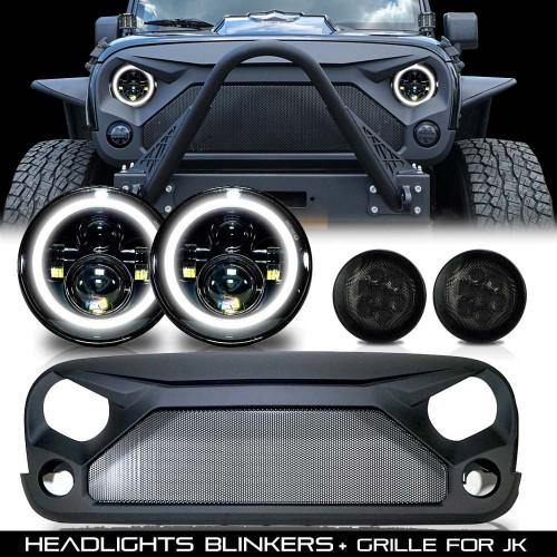 Combo Set Grill+ Headlights + Blinkers for Jeep Wrangler JK 2007-2018