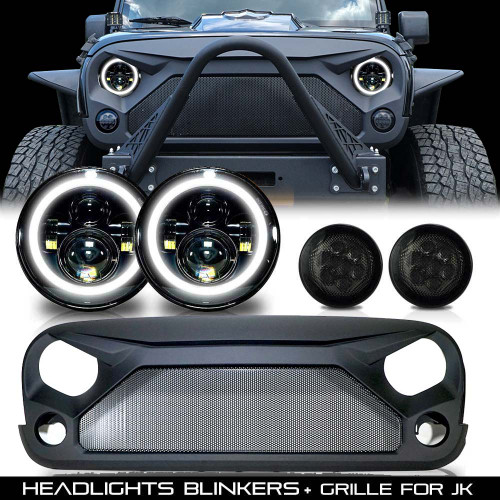 Combo Set Grill+ Headlights + Blinkers for Jeep Wrangler JK 2007-2017